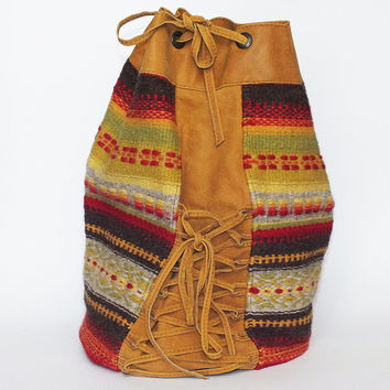 Handmade ladies backpack - brown leather and colorful handwoven part - tribal style