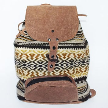 Handmade ladies backpack - beige leather and colorful handwoven part