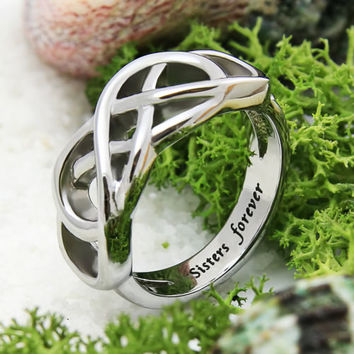 Sisters Ring, Sisters Forever Infinity Ring Gift Stainless Still Women's Ring