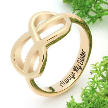 "Infinity Ring for Sister Infinity Symbol Ring ""Always My Sister"""