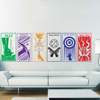 The Avengers Captain America Thor Hulk Hawkeye Iron man Black Widow Full color Vinyl Wall Art Decal WD-0421C