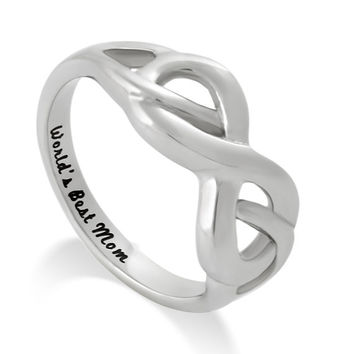 """Infinity Mothers Ring, Double Hearts Ring, Promise Mom Ring """"Worlds Best Mom"""" Engraved on Inside Best Gift for Mother"""