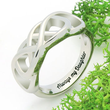 """Infinity Ring - Daughter Silver Ring Engraved on Inside with """"Always My Daughter"""", Ring Sizes 6 to 9"""