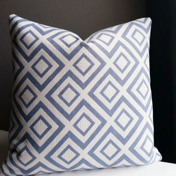 Geometric Light blue and white  pillow cover 16 x 16