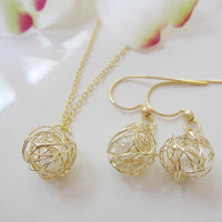 Gold Wire Wrapped Yarn Ball Earrings and Necklace Set with Pearl - Yarn Ball Necklace and Earrings