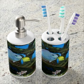 Sea Blue Fish Bath Set
