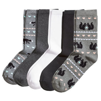 H&M - 5-pack Socks - Gray - Ladies