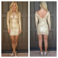 Dance To The Disco Sequin Dress - GOLD