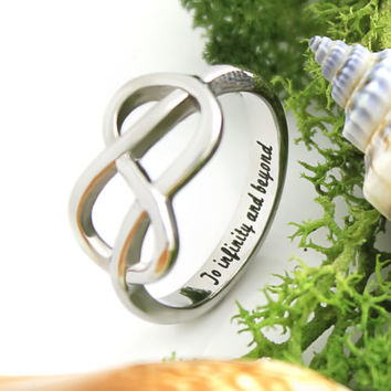 """Infinity Symbol Ring Secret Message """"To Infinity and Beyond"""" Ring With Enraving"""