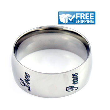 Unisex Purity Ring - Grow, Faith, Hope, Love, Peace Stainless Steel Ring