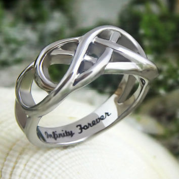 """Infinity Ring - Promise Ring Engraved on Inside with """"Infinity Forever"""", Sizes 6 to 9"""