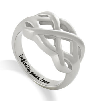 "Infinity Ring, Promise Ring Infinity Symbol Ring ""Infinity Pure Love"" Engraved on Inside Best Gift for Friend or Loved one"