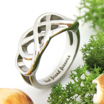 "Best Friends Ring, Double Infinity Ring ""Best Friend Forever"" Message on Inside"