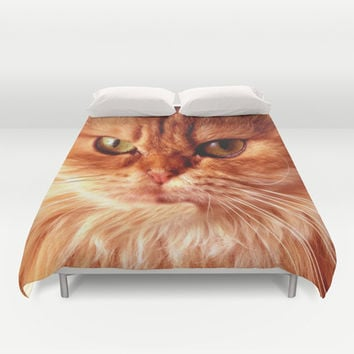 Funny Persian Cat Duvet Cover by Erika Kaisersot