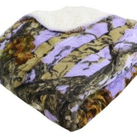 "REGAL 50"" x 70"" Sherpa Luxury Throw Blanket - The Woods' Lavender Camo"