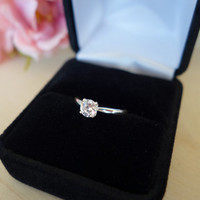 1/2 carat 5mm Solitaire Engagement Ring, 4 Prong, Round Man Made Diamond, Wedding, Promise Ring, Bridal, Sterling Silver, 14k Gold Option