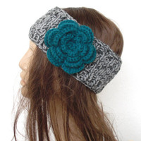 Hand Knit   Headband-Headband with Flower- boho headband - boho accessories- Spring Fashion- Floral accessories- Mothers day- Women Hippie