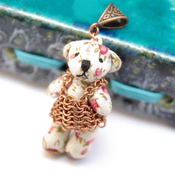 Teddy Bear Pendant / Cute Necklace / Gift For Friend