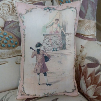 Romeo and Juliet Pillow with antique Print