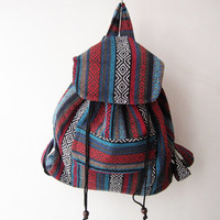 hipster backpack, boho school bag, hippie tribal backpack in blue ethnic nepali rucksack , ikat bag, travel bag