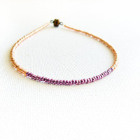 Metallic chic  seed beads beaded anklet Golden purple color blocking thin ankle cuff bracelet. Foot jewelry, friendship anklet