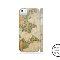 Vintage World Map Design Case「 iPhone 6 5 5S 5C 4 4S iPod Touch Galaxy S5 S4 S3 Note 1 2 3 」