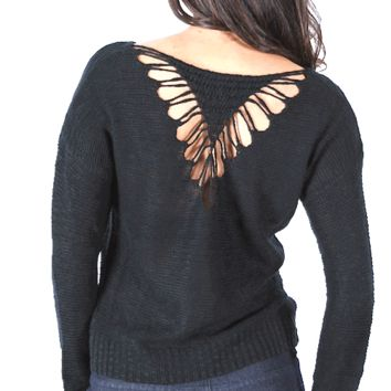 This super soft knit top features a contrasting Heart shape detailing back, round neckline, long sleeves. Pair with high waist jeans and boots.
