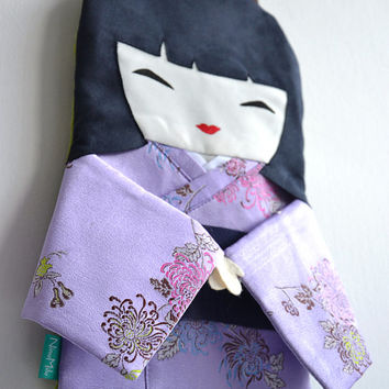 FREE SHIPPING! Japanese Doll bag in Lilac Kimono with Flowers of Chrysanthemums