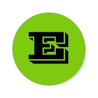 Capital Letter E Small Green Stickers by Janz