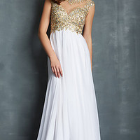 Long Cap Sleeve Evening Gown by Night Moves