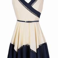Lily Boutique Cute Colorblock Dress, Navy and White Dress, Belted Navy Dress, Cute Summer Dress, Colorblock Fun Belted Dress in Ivory/Navy Lily Boutique