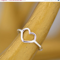Labor Day Sale Sterling Silver Heart Ring - Heart Ring - Silver Heart Ring - Silver Ring - Sterling Ring - Heart Jewelry