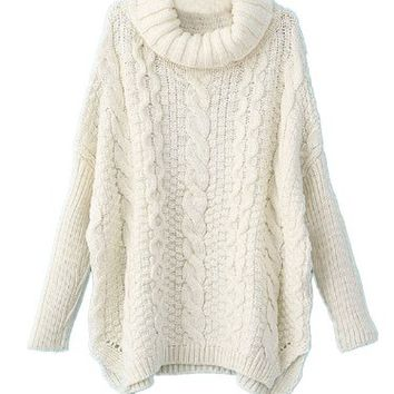 Sheinside Women White Long Sleeve Turtleneck Chunky Cable Knit Loose Sweater Pullover