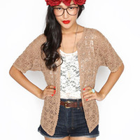 Brown Crochet Boho Cardigan