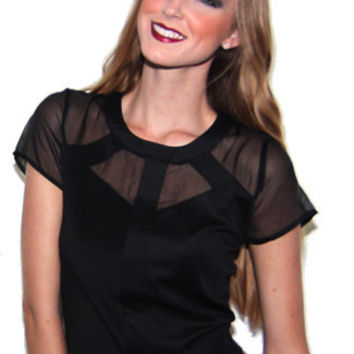 Cutting Corners Sheer Collared Top in Black | Sweetrebelboutique.com | Sweet Rebel