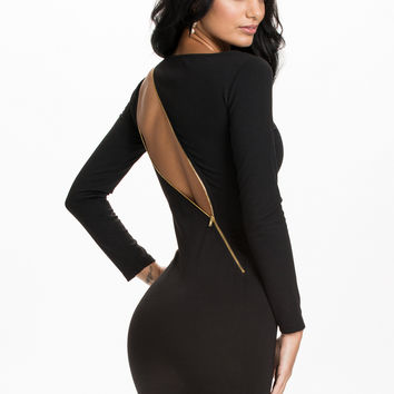 LONG SLEEVE ZIP DRESS - black bodycon dress with functional zip at the back