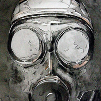 Giclee Print, Original Watercolor, Original Watercolour, watercolor giclee, black and white painting, steampunk gas mask, streampunk art