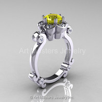 Art Masters Caravaggio 14K White Gold 1.0 Ct Yellow Sapphire Diamond Engagement Ring R606-14KWGDYS