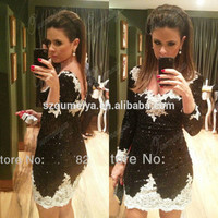 Alibaba.com - Wholesale OUMEIYA Real Pictures ORC96 Sexy Short Fitted V Neck Bling Bling Black and White Cocktail Dress with Long Sleeve