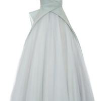 Mint Mesh And Tulle Strapless Ball Gown by Monique Lhuillier - Moda Operandi