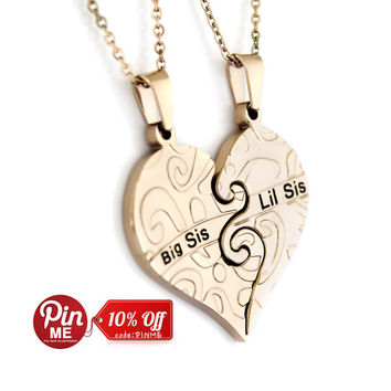 "Sister Heart Necklaces - Heart Necklace Set (2pcs) Engraved with ""Big Sis"" and ""Lil Sis"", 18"" Chains Included"