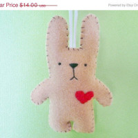 Christmas in July 20% OFF Bunny ornament plush handmade Christmas ornaments tan felt animal stuffie