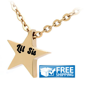 Sister Necklace, Little Sister Star Necklace, Gold Star Sister necklace