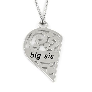 "Big Sister Necklace, Half Heart Big Sis Necklace, Perfect Sister Pendant gift 18"" Chains Included"