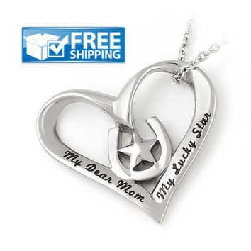 """Mothers Heart Necklace """"My Dear Mom My Lucky Star"""", Mothers Day Pendant"""