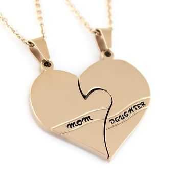 "Daughter Mother Necklace Perfect gift Heart Necklace Pendant Set (2pcs) 18"" Chains Included"