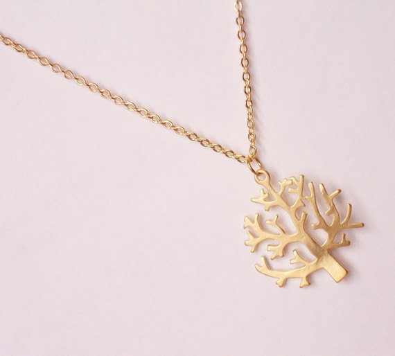 Dainty tree necklace, gold plated tree necklace