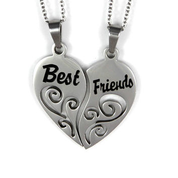 "Best Friends Split Heart Necklace Set Two Heart Necklace, (2pcs)  Friends gift 18"" Chains Included"