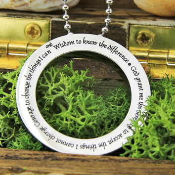 """Serenity Necklace - Circle Necklace Engraved with """"God Grand Me The Serenity"""", 18"""" Chains Included"""
