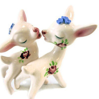 Vintage Salt and Pepper Shakers Japanese Glass Kissing Deer Pink